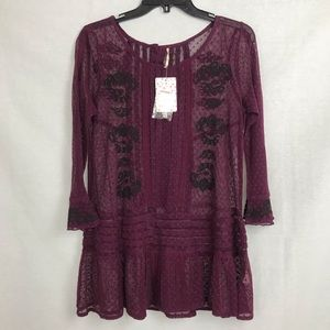 Free People Jocelyn Sheer Embroidered Tunic